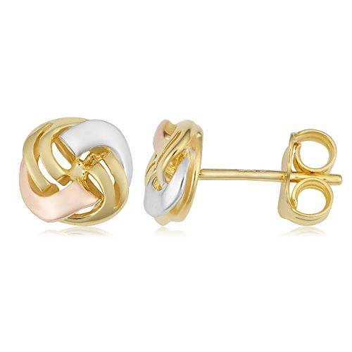 14k Tricolor Gold Love Knot Stud Earrings by Kooljewelry