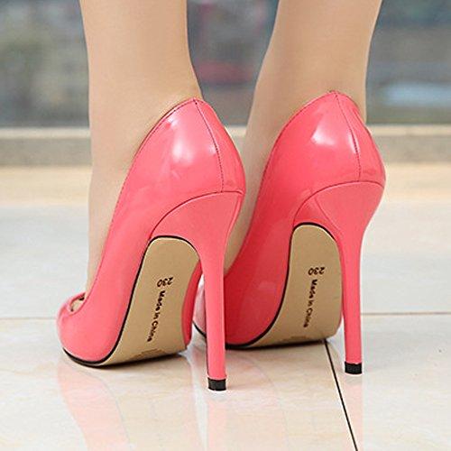Elegante Fiesta Y O Melocotn Cerrada Ochenta Rojo Modo Mujer Tacn Aguja Dise Puntiagudo Punta 11cm Zapatos Boda Para De xwqCOv6