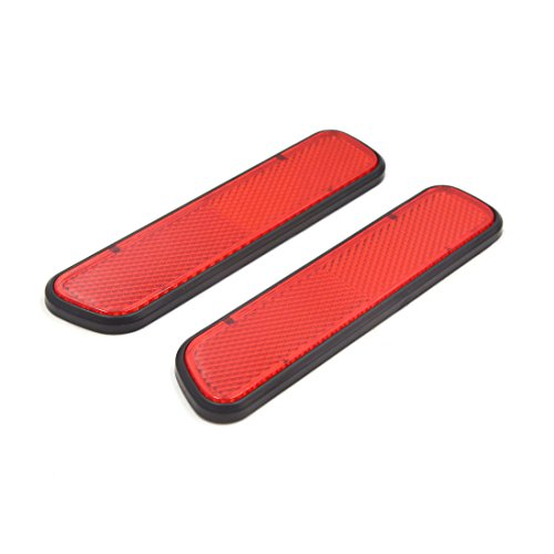 (uxcell 2Pcs Red Plastic Car Vehicle Reflective Sticker Decor Self Adhesive Reflectors)