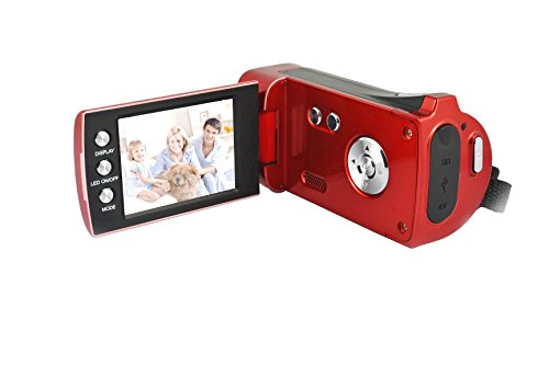 Lightahead® DV series High-Definition HD 720p Digital Camcorder SD/SDHC with 4x Digital Zoom & 2.7″ Flipout screen (RED) With Hand Strap & Cloth Bag.