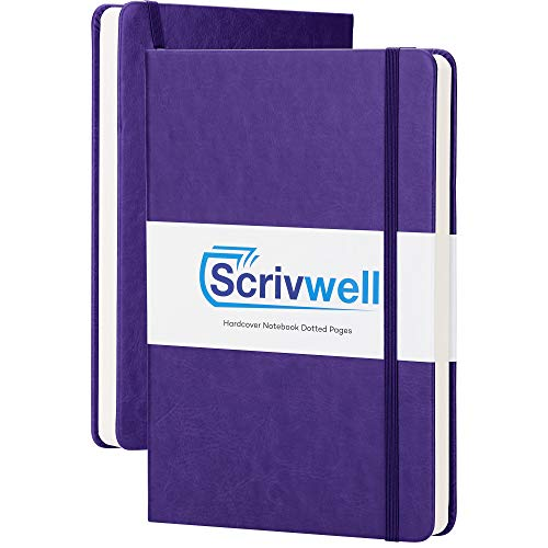 Scrivwell Dotted A5 Hardcover Notebook - 208 Dotted Pages with Elastic Band, Two Ribbon Page Markers, 120 GSM Paper, Pocket Folder - Great for Bullet journaling (Purple)