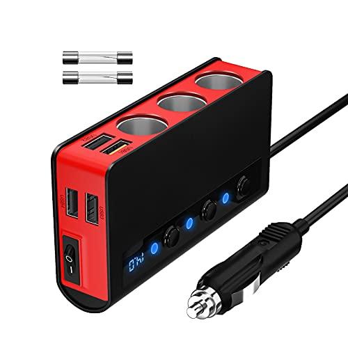 SONRU Auto Verteiler QC 3.0, 3 Fach 180W 12V / 24V KFZ Zigarettenanzünder Verteiler Adapter und 4 USB Steckdose mit Getrennte Schalter LED Stromspannung Anzeige für Telefon Tablet GPS usw. Rot