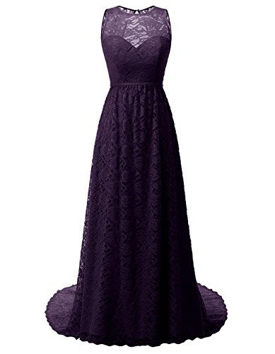 ALAGIRLS Women Long Bridesmaid Dress Illusion Lace Prom Party Gowns Keyhole Back Eggplant US12