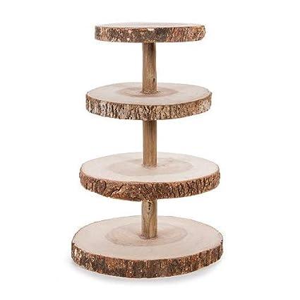 Darice David Tutera 4 Tier Rustic Wood Slice Cupcake Stand