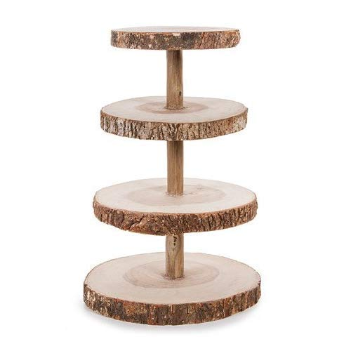 Tree Cupcake Stand (Darice David Tutera 4-Tier Rustic Wood Slice Cupcake)
