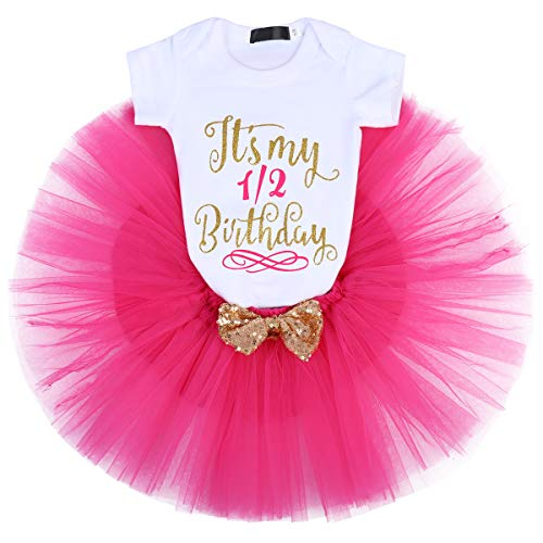 IBTOM CASTLE Baby Girl It's My 1st/2nd Birthday Cake Smash 3Pcs Shinny Sequin Bow Romper+Tutu Skirt+Headband+Leg Warmer Outfit Hot Pink(6 Months)(3pcs) One Size]()