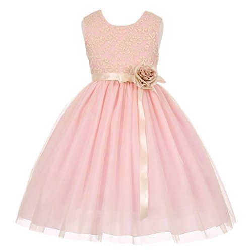 iGirlDress Little Girls Two Tone Lace Satin Ribbons Corsage Flower Girl Dress Pink 12