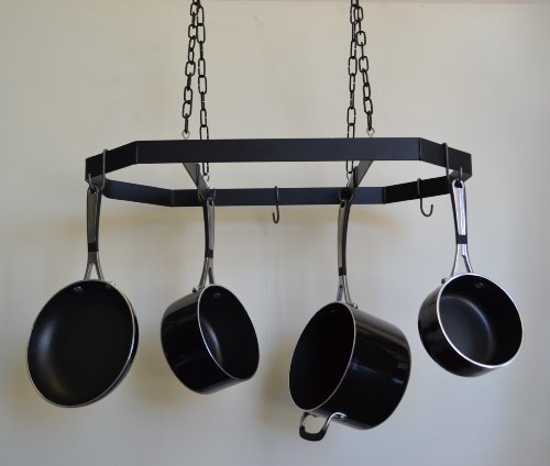 JOHNSON & JOHNSON Wire Hanging Pot and Pan Rack with Blac...