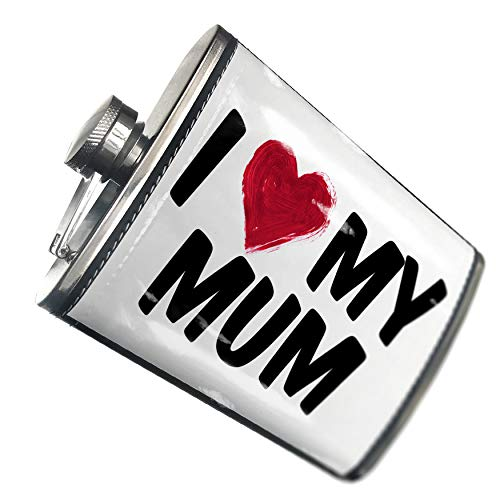 NEONBLOND Flask I heart love my Mum Hip Flask PU Leather Stainless Steel Wrapped ()