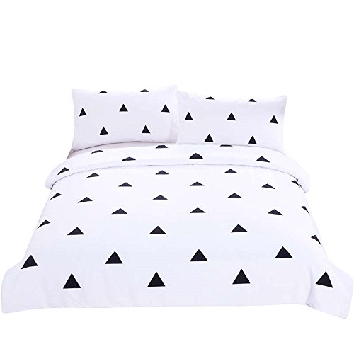 LightInTheBox Bedding 3 Piece Duvet Cover Set King/Queen/Full/Twin, Reversible Printing with Brushed Microfiber, Lightweight Soft, Comfortable , Durable Black and White Triangle (Brookfield 1 Light)