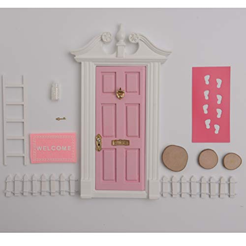 blminiatures Mini Elf Door Opening Red Christmas Festive Fairy Door Set Come with Little Key ,DIY Bunting, Mats,White Ladder ,Wreath and A White Sparkly Bottle of Magical Fairy ()