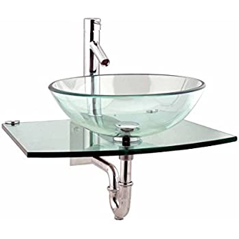 glass bowl sink with vanity vessel exploded halo clear tempered complete set chrome faucet drain wall mount stainless steel unique modern blue sinks for