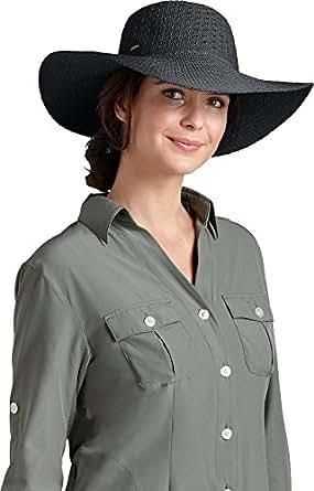 Coolibar UPF 50+ Women's Packable Wide Brim Sun Hat - Sun Protective,One Size,Black