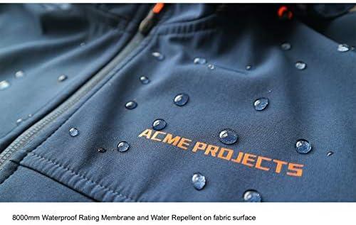 ACME PROJECTS MEN'S FLEECE LINED SOFTSHELL JACKET WITH DETACHABLE HOOD, WATERPROOF, BREATHABLE, 8000MM/5000GM, YKK ZIPPER