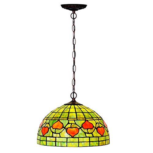 Tiffany Style Chandelier, Euro Heart-Shaped Stained Glass Creative Green Ceiling Light, Bedroom Dining Room Pendant Light, 12 Inch, E27