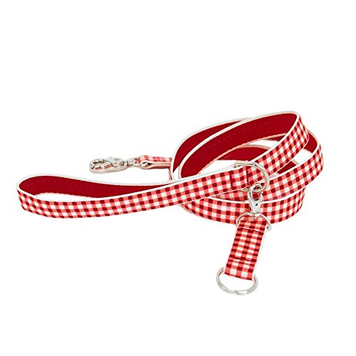 Harry Barker Red Gingham Dog Leash, 3/4-Inch by 4-Feet