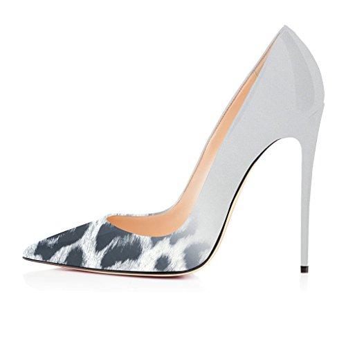 Fsj Femmes Sexy Léopard Talons Hauts Pompes Stiletto Pointues Chaussures À Bout Pour La Robe De Soirée Taille 4-15 Nous Fument