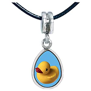 Chicforest Silver Plated Yellow Rubber Duck Photo Angel Tears Charm Beads Fits Pandora Bracelets