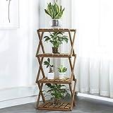 Sunnyglade 4-Tier Foldable Flower Rack Plant Stand Wood Shelf Multipurpose Utility Storage Rack Books Picture Frames Shelves for Yard Garden Patio Balcony Bedroom