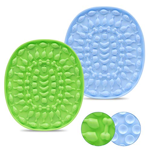 Couwilson Lick Mat for Dogs with Suction - Alternative to Slow Feeder Dog Bowls, Boredom and Anxiety Reduction, Perfect for Food, Treats, Yogurt, or Peanut Butter, Dishwasher Safe - 2 Pcs