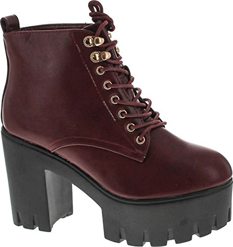 - SODA Women's Climate Faux Leather Lace-Up Thick Platform Chunky Heel Lug Ankle Bootie,Dark Wine Pu,5.5