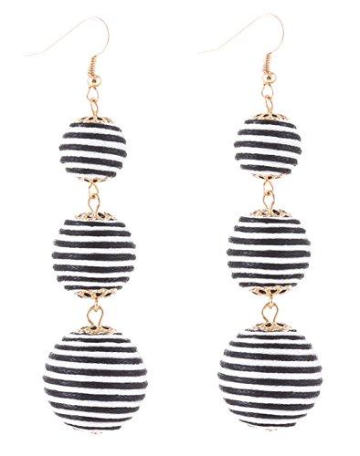 - VK Accessories Thread Ball Dangle Earrings Thread Dangle Earrings Soriee Drop Earrings (black and white)