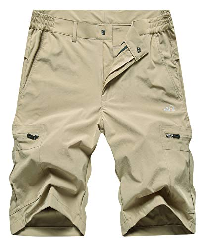 Vcansion Men's Outdoor Soft Lightweight Quick Dry Casual Shorts Hiking Sports Shorts Khaki Tag 3XL/US 36 ()