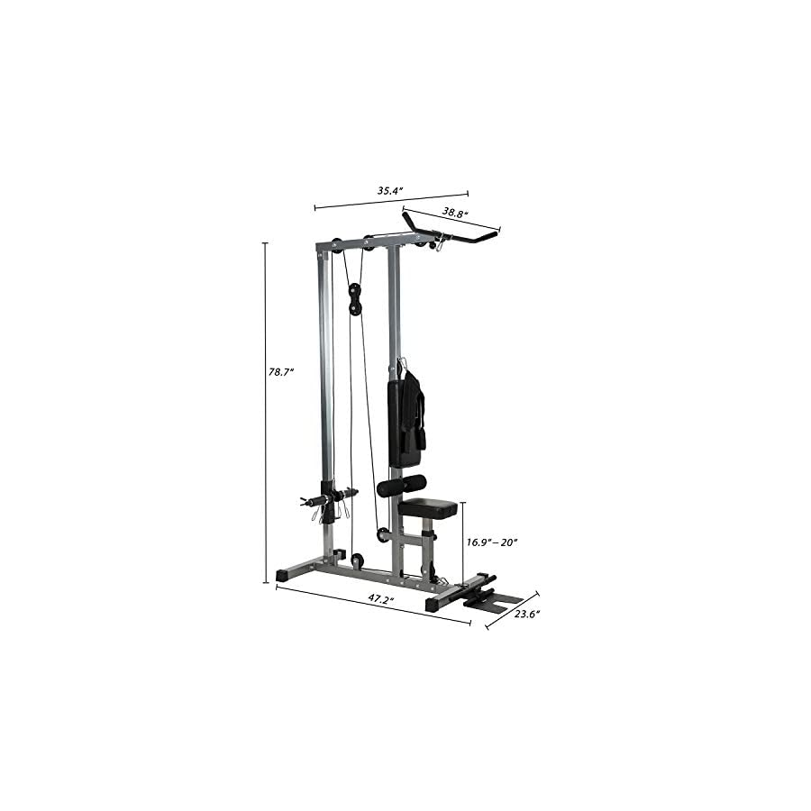 Vanswe LAT Pulldown Machine Low Row Cable Pull Down with Dulex Back Pad and Removable Front Steel Foot Rest