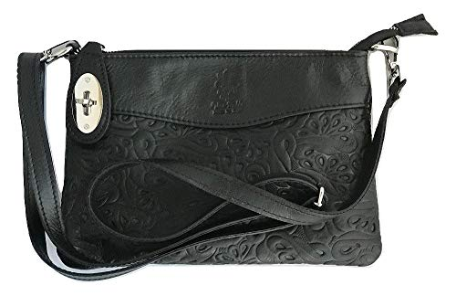 LaGaksta Bello Embossed Leather Crossbody Bag Black