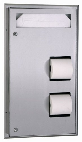 Bobrick 347 ClassicSeries 304 Stainless Steel Partition Mounted Seat-Cover and Toilet Tissue Dispenser, Satin Finish, 17-3/16'' Width x 30-5/8'' Height by Bobrick