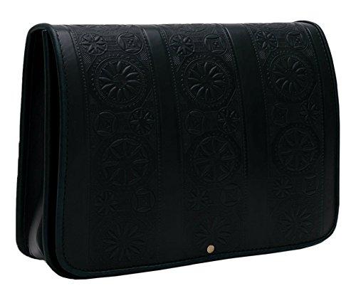 Koson cuoio–nero colonne–motivi tradizionale borsa in pelle con motivi stampati