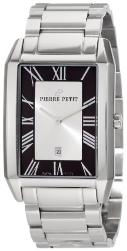 Pierre Petit Men's P-777C Serie Paris Rectangular Stainless-Steel Bracelet Date Watch