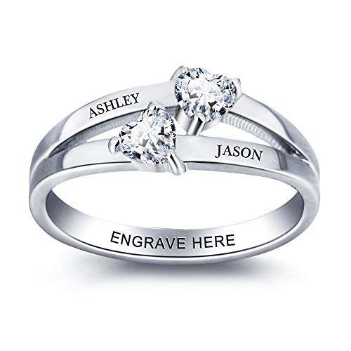 Lam Hub Fong Free Engraving Name Engagement Rings for Women Personalized 2 Simulated Birthstone Promise Rings for Her Womens Wedding Bands Rings (7)
