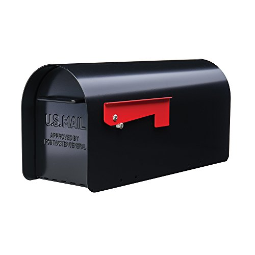 Gibraltar Mailboxes Ironside Large Capacity Galvanized Steel Black, Post-Mount Mailbox, MB801B (Post Mount Center)