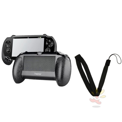 Everydaysource Compatible With Sony PlayStation Vita - Black Hard plastic rubber coating Hand Grip with FREE Black Wrist Strap
