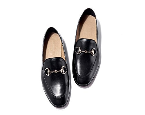 Leer Damessokken Damessleren Lederen Gesp Platte Schoenen Zwart