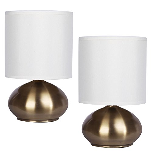 Catalina Lighting 18581-001 Caden 2-pack Mini Metal Touch Accent Lamps with Linen Drum Shades, 6.0