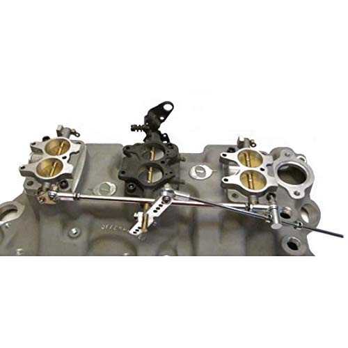 Fits Chevy SBC Rochester 2-Jet 2G Tri-Power 3x2 Carb Kit w//Linkage