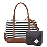 Ladies Women Canvas Travel Weekend Overnight Carry-on Shoulder Duffel Tote Bag and Cosmetic Bag Gift