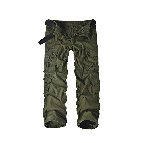 Leward Men's Cotton Casual Military Army Cargo Camo Combat Work Pants with 8 Pocket (32, Military Green)