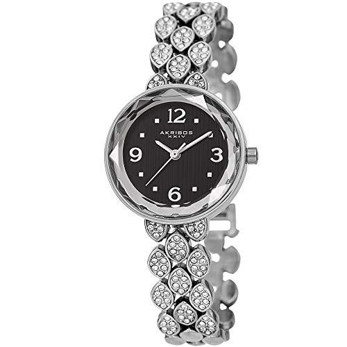 Dial Black Watch Bracelet Round - Akribos XXIV Swarovski Crystal Studded Women's Watch – Silver Link Bracelet Strap Small Round Polished Alloy Case Accents,Black Dial - AK839SSB