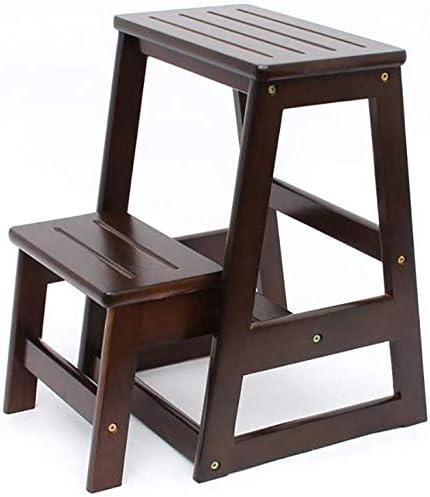 Taburete Escalera de madera de heces, de 2 pasos taburete de paso, creativo casero plegable Taburete,