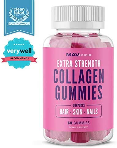 MAV Nutrition Collagen Hair Vitamins Gummy for Men & Women, Anti-Aging Benefits with Vitamin C, Zinc Supplement & Biotin; Non-GMO, 60 Count