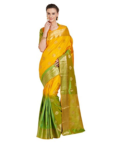 Viva N Diva Sarees for Women's Banarasi Latest Design Party Wear Shaded Green & Yellow Colour Banarasi Art Silk Saree with Un-Stiched Blouse Piece,Free Size
