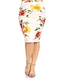 Fashion Stream Women's Plus Size Printed Pencil Skirt/Made in USA