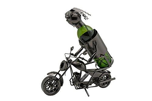 WINE BODIES ZA411 Motorcycle Rider Metal Wine Bottle Holder, Charcoal