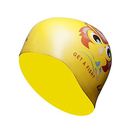 LANE4 Accessories Flat Silicone Cap - Waterproof Durable Silicone, Solid Color, Comfortable Lightweight Professional for Adults Men Women Teens AJ040 (Yellow Owl)