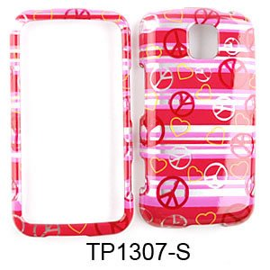CELL PHONE CASE COVER FOR LG OPTIMUS M MS690 TRANS PEACE HEARTS ON PINK