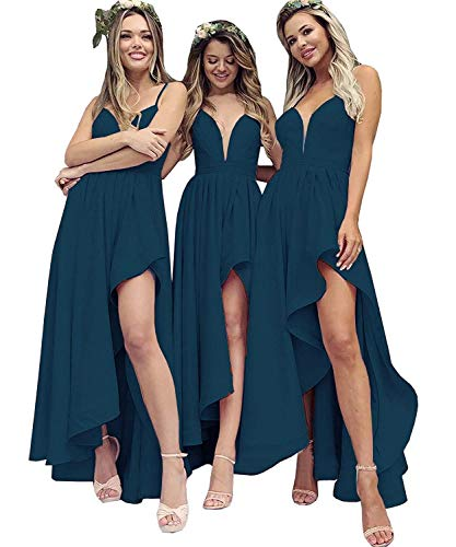 (Lamosi Women's High Low Bridesmaid Dress Long V Neck Pleats Satin Prom Party Homecoming Gowns Teal Size 10)