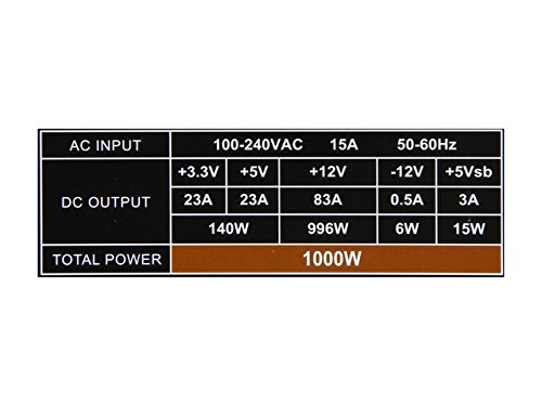 ROSEWILL Gaming 80 Plus Bronze 1000W Power Supply / PSU, HIVE Series 1000 Watt 80 PLUS Bronze Certified PSU with Silent 135mm Fan and Auto Fan Speed Control, 3 Year Warranty by Rosewill (Image #4)